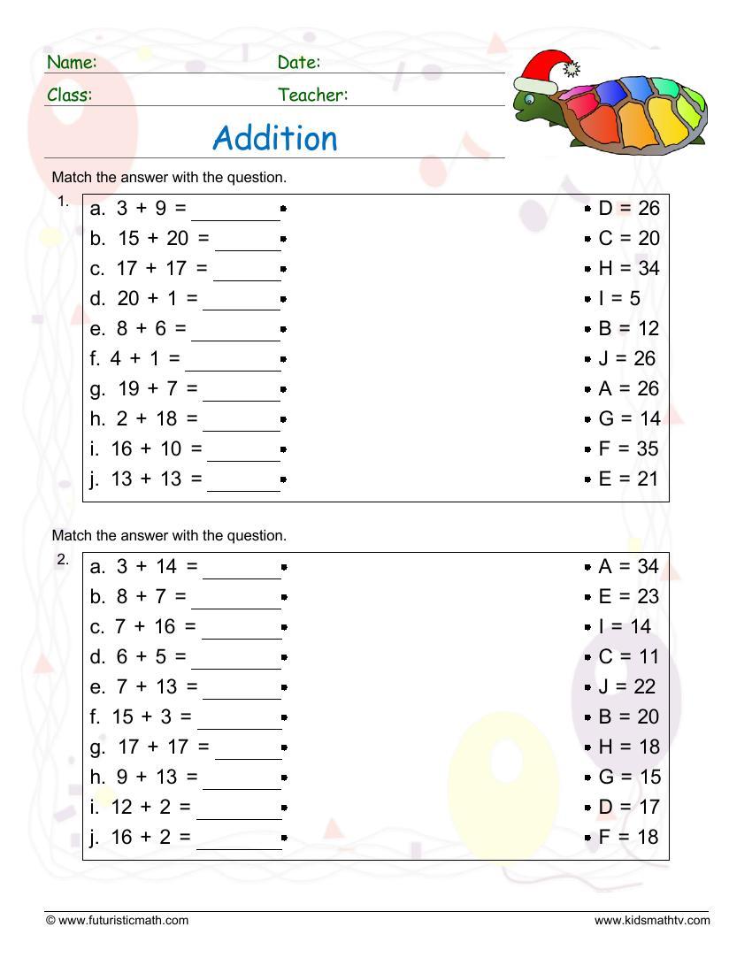Addition Matching Exercise 2