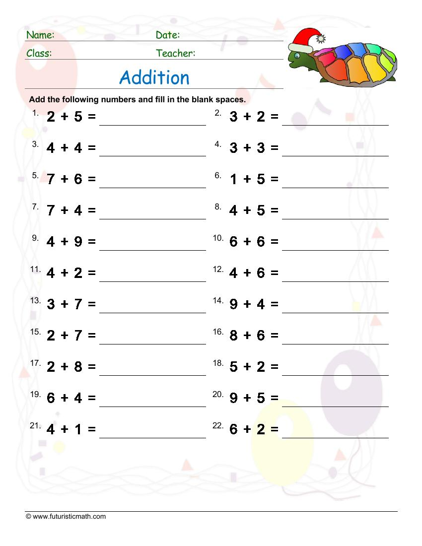 Addition Of Single Digit Numbers Up To Ten