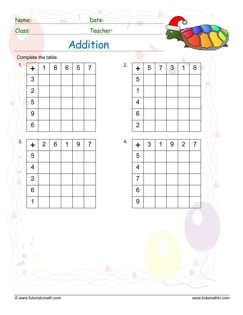 Addition Table Drill
