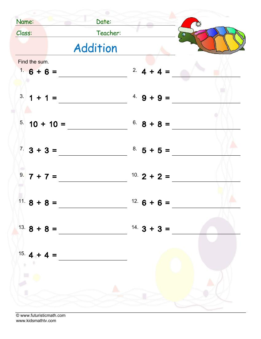 Addition Of Doubles Up To Ten