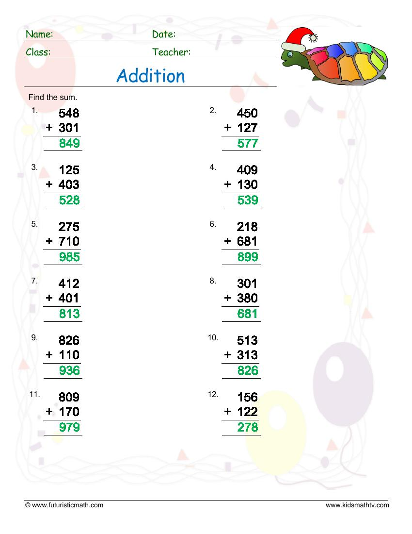 Addition Of Two Two Digit Numbers With Carrying Ans