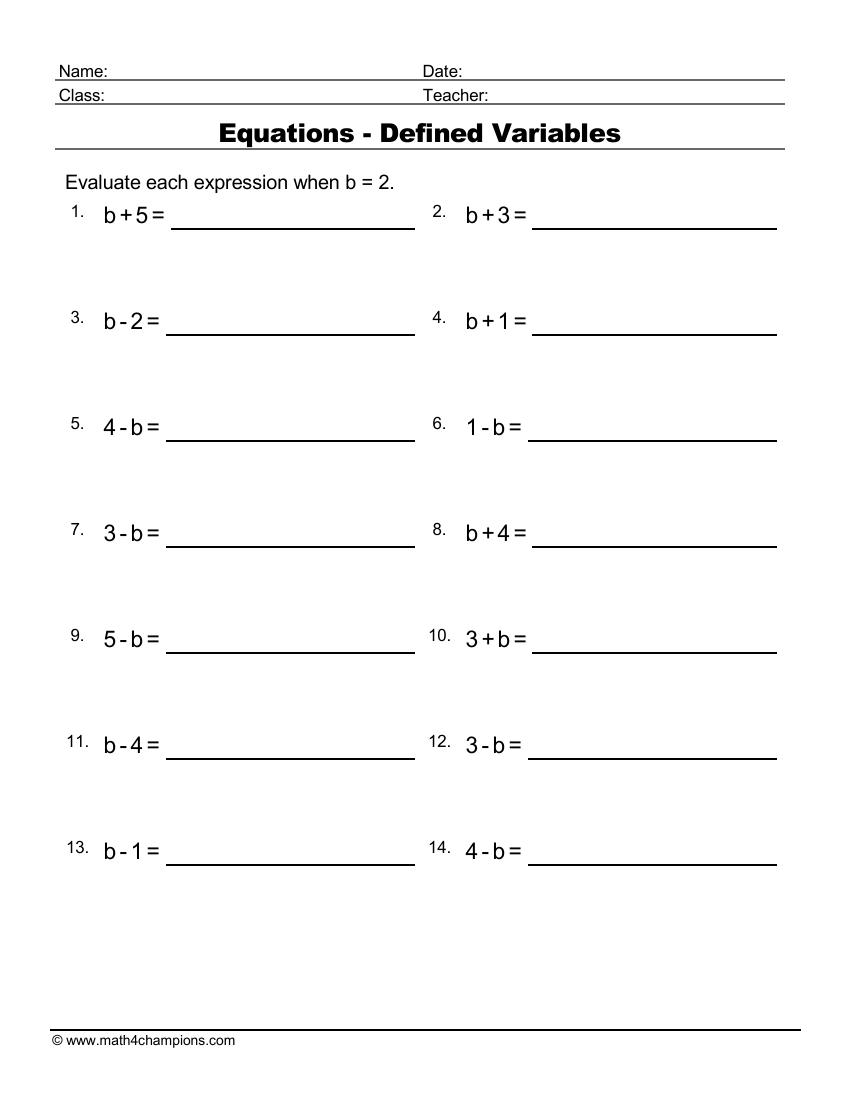 Equations With A Defined Variable 2