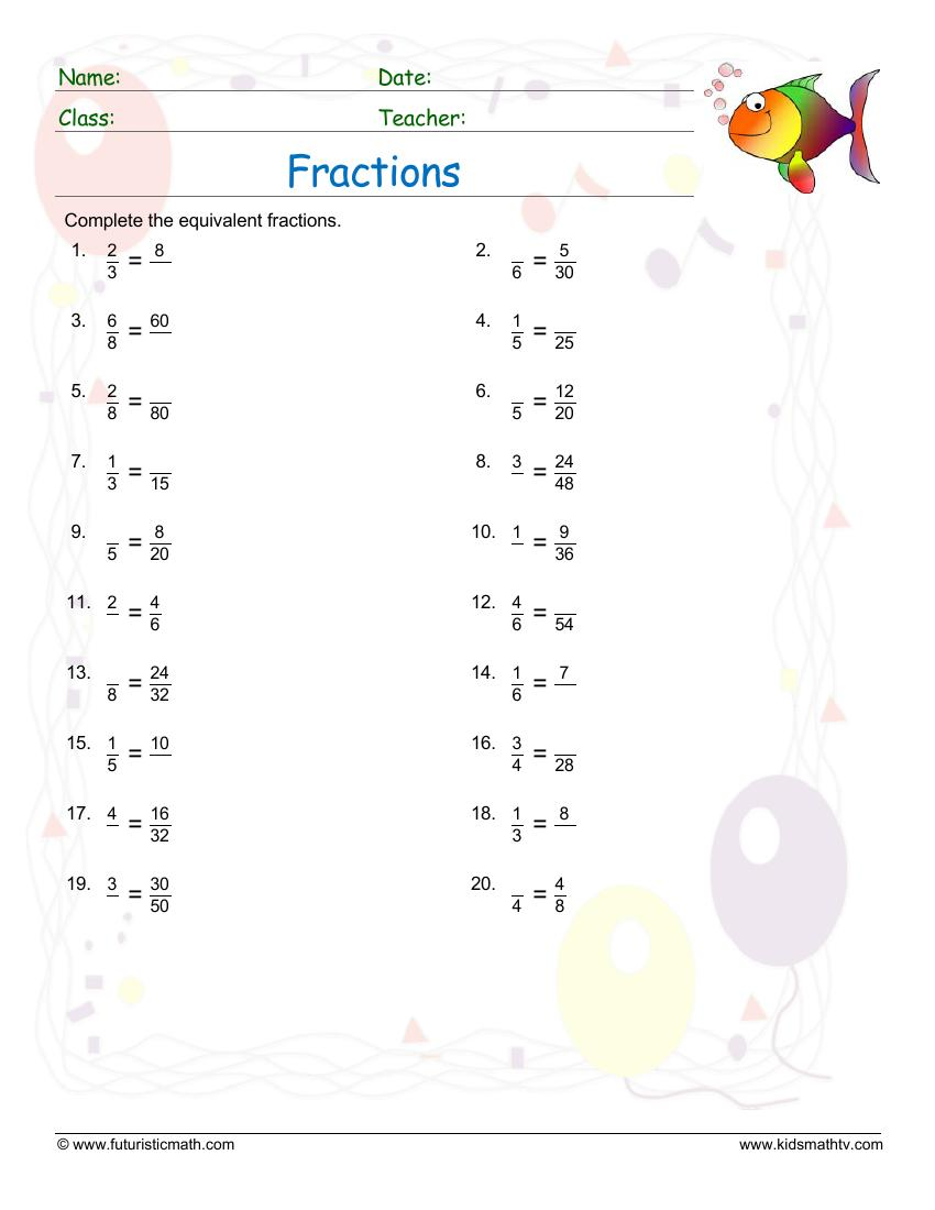 Find Equivalent Fraction Values