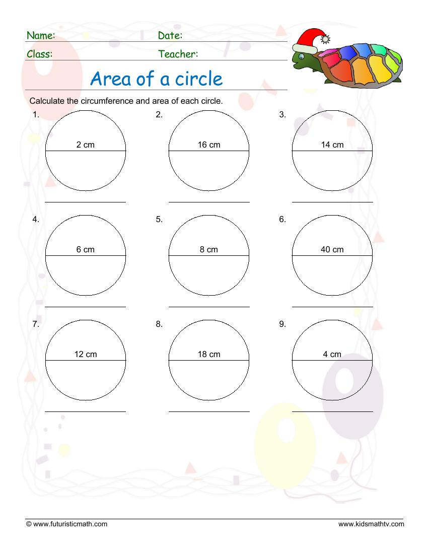 Find The Area Of Circles With Diameter Values