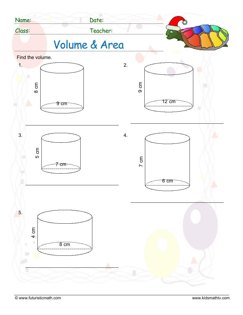 Find Volume And Area Of Cylinders