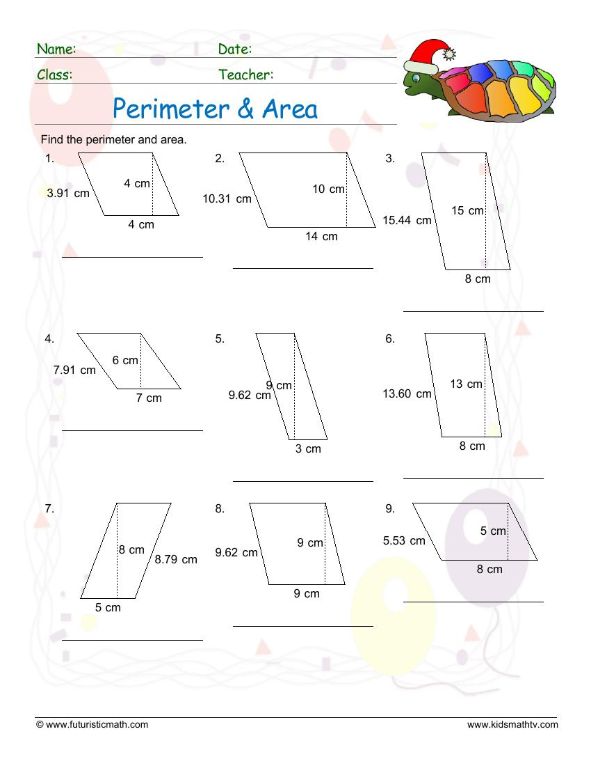 Perimeter And Area Of A Parallelogram