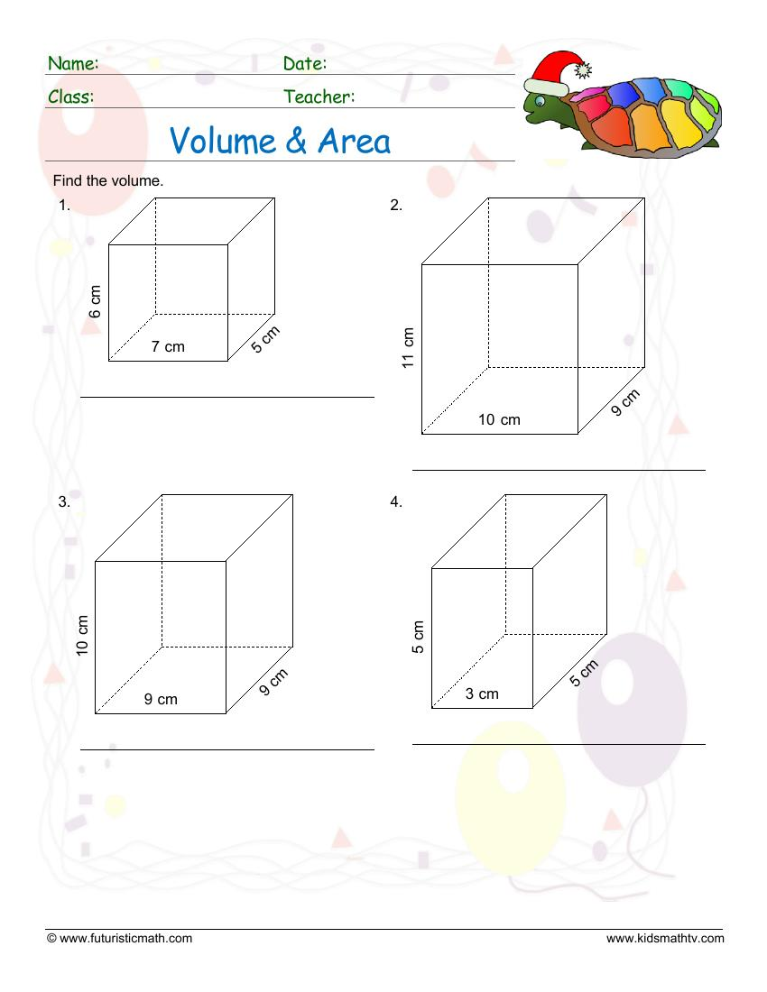 Volume And Area Of Rectangular Prisms