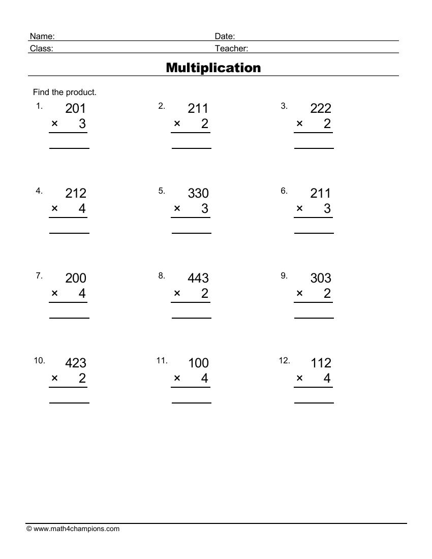 Multiply Three By One Digit Numbers