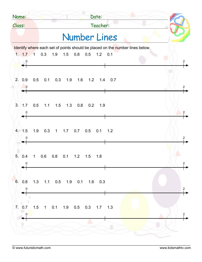 Number Lines With Decimals 10 Points
