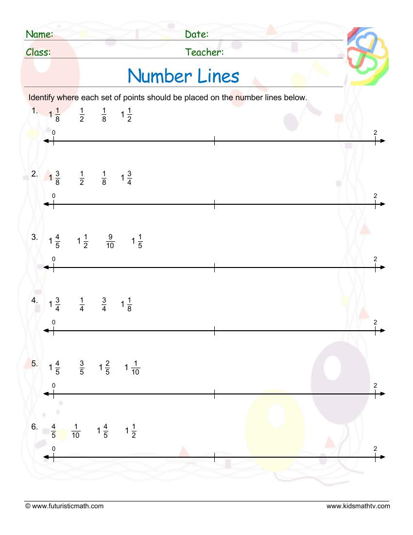 Number Lines With Fractions 2
