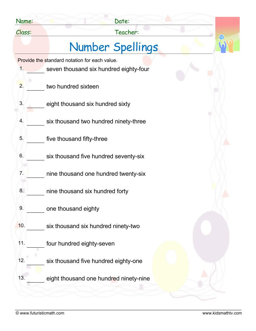 Spelling Numbers Upto Thousands