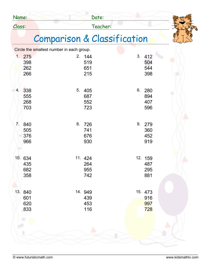 Classification And Comparisons Smallest Numbers