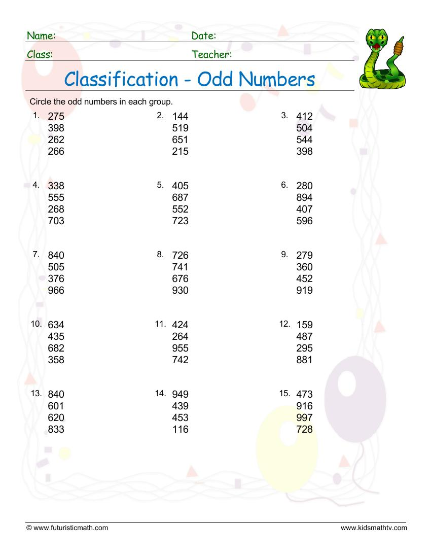 Classification Of Odd Numbers