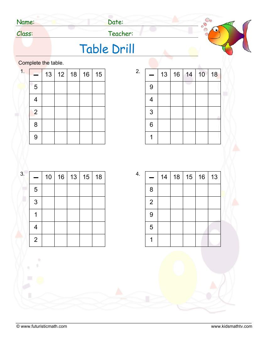 Table Drill Subtraction