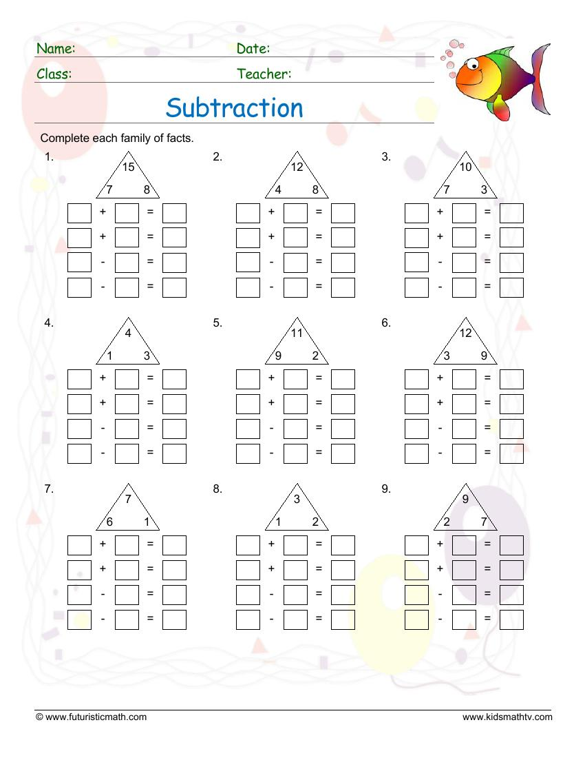 Subtraction And Addition Fact Families