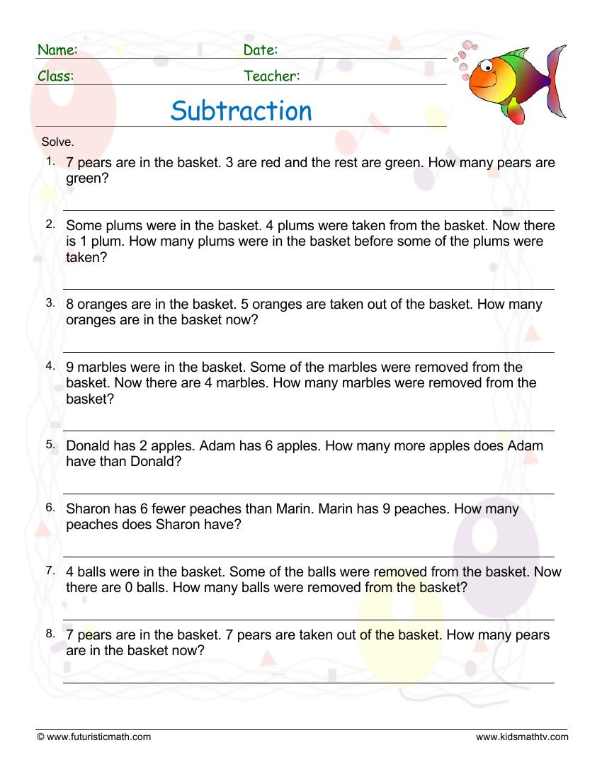 Subtraction Word Problem 2